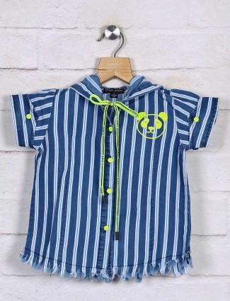 Stilomoda attractive royal blue stripe cotton top
