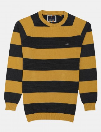 Stride black and yellow stripe knitted t-shirt