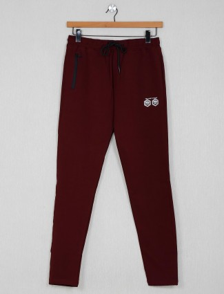 Stride maroon cotton solid night track pant