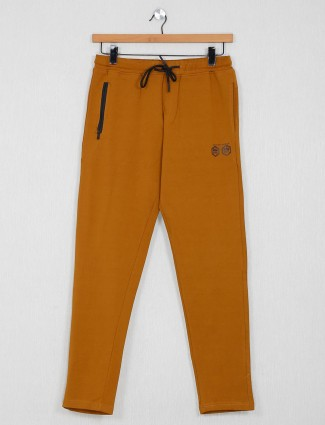 Stride mustard yellow solid cotton payjama