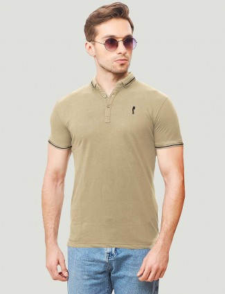 Stride slim fit beige colored solid t-shirt