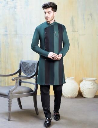 Stripe green terry rayon full sleeves kurta suit