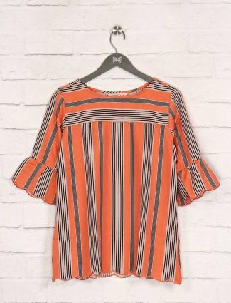 Stripe orange quarter sleeves top