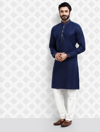 Strong navy color solid cotton kurta suit