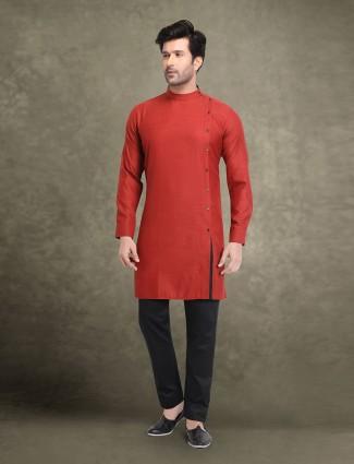 Stunning maroon hue suit in cotton