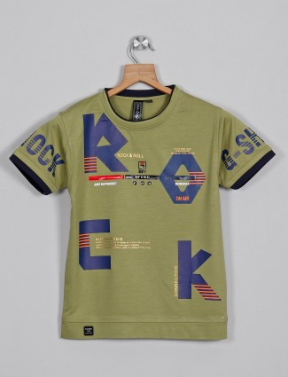 Sturd green casual cotton t-shirt with print