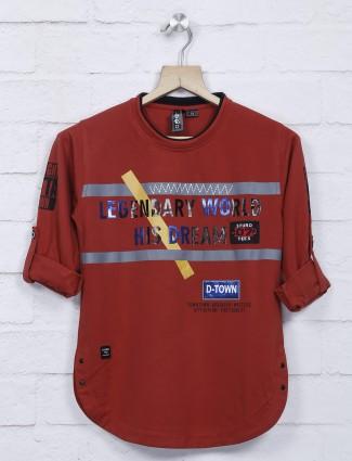 Sturd maroon hue printed full sleeves t-shirt