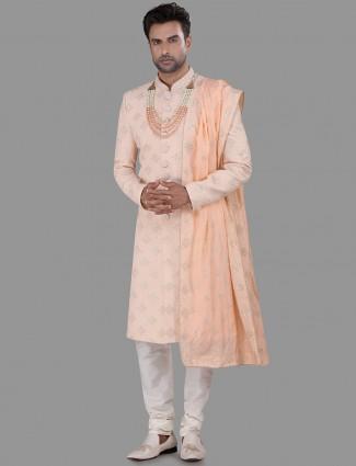 Stylish peach chikan sherwani with thread work