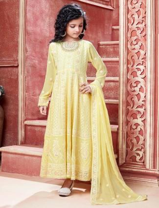 Stylish wedding wear yellow anarkali suit