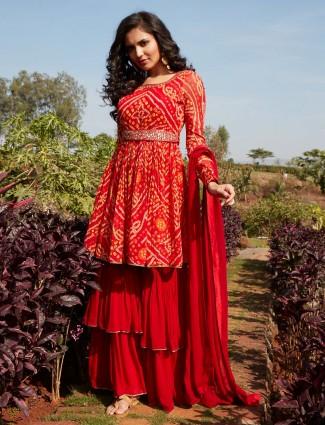 Superb red georgette punjabi style wedding wear sharara suit