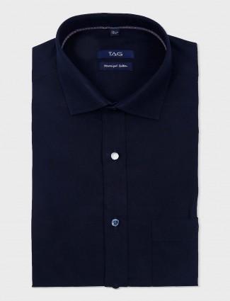 TAG solid navy cut away collar shirt