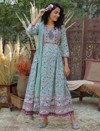 Teal blue anarkali style cotton festive wear kurti