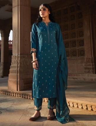Teal blue cotton punjabi pant suit