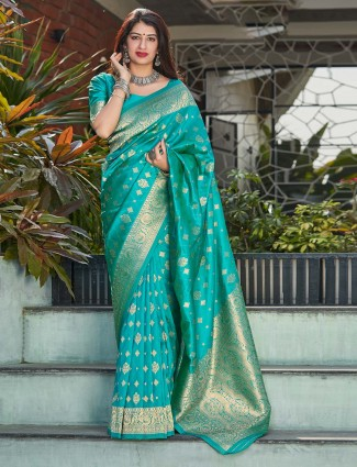 Teal blue festive wear banarasi silk saree