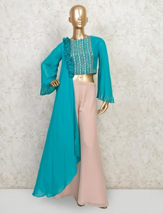 Teal blue georgette palazzo suit for party