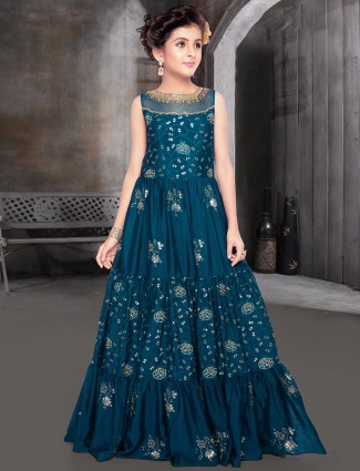 Teal blue raw silk gown for party functions