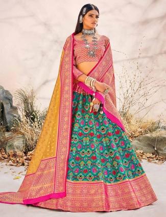 Teal blue unstitched wedding lehenga choli in patola silk