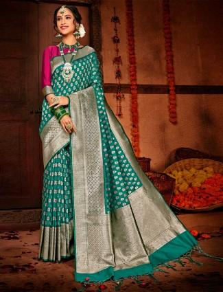Teal green banarasi silk wedding wear saree