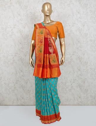 Teal green latest wedding wear silk saree