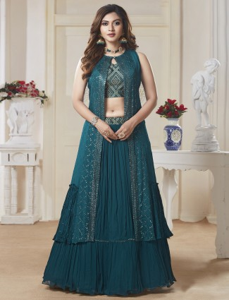 Teal green lehenga suit for party occasions