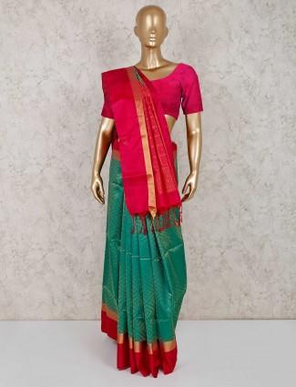 Teal green pure south silk saree
