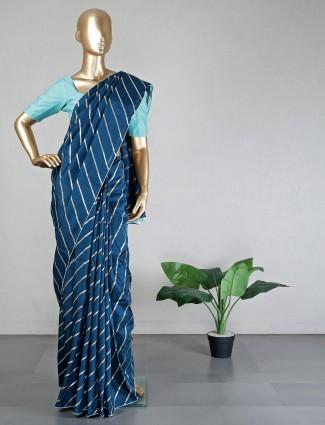 Teal green silk wedding wear saree