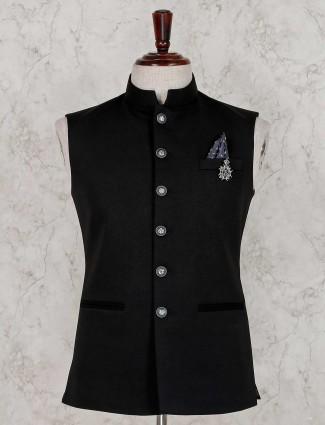Terry rayon black solid waistcoat