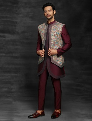 Terry rayon maroon jacket style mens indo western