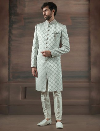 Terry rayon off white hue churidar indo western