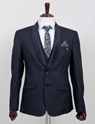 Terry rayon solid black three piece coat suit for mens