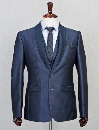 Terry rayon solid blue three piece coat suit