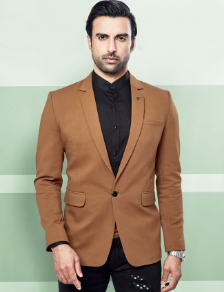 Terry rayon solid brown colored blazer