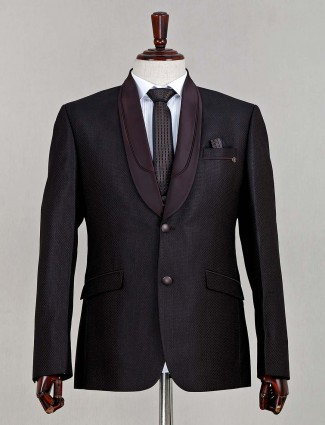 Terry rayon solid brown three piece coat suit