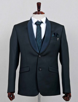 Terry rayon solid green three piece coat suit