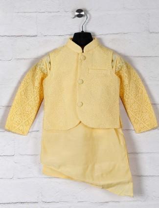 Terry rayon yellow waistcoat set for boys