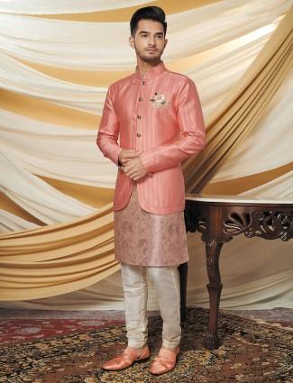 Thread work pink silk waistcoat set