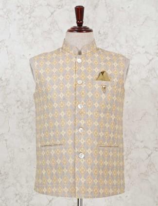 Thread woven grey cotton waistcoat