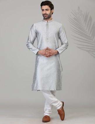 Thread woven grey mens kurta suit in cotton silk