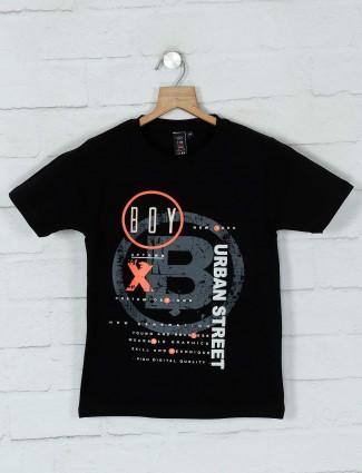 Timbuktuu black cotton printed boys t-shirt