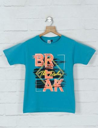 Timbuktuu blue printed cotton t-shirt casual wear