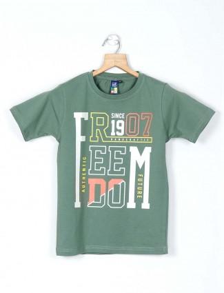 Timbuktuu green printed casual t-shirt