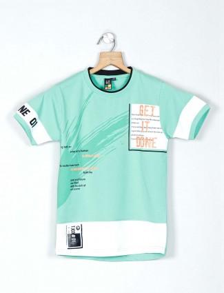 Timbuktuu sea green printed cotton t-shirt