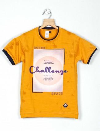Timbuktuu yellow printed casual boys t-shirt