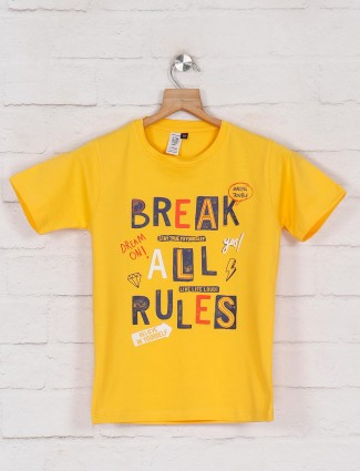 Timbuktuu yellow printed t-shirt in cotton