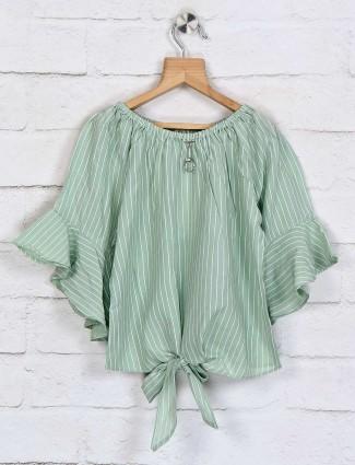 Tiny Girl cotton green stripe top