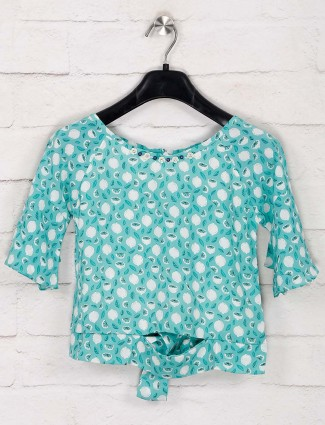 Tiny Girl green printed round neck top