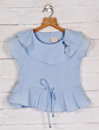 Tiny Girl solid blue cap sleeves top