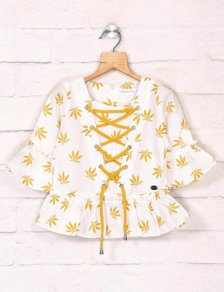 Tiny Girl white casual cotton casual printed top