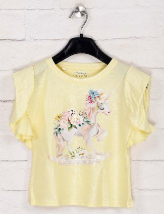 Tiny Girl yellow printed cotton casual top