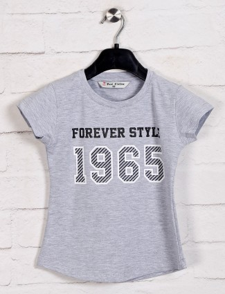 Top in light grey printed cotton